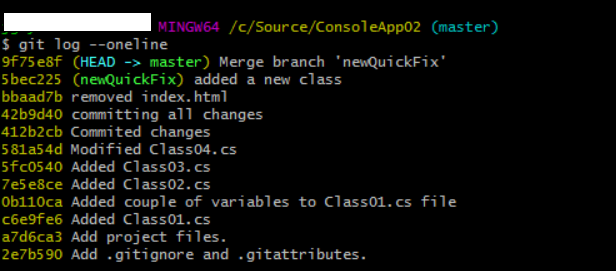 reviewing git log history after recursive merge