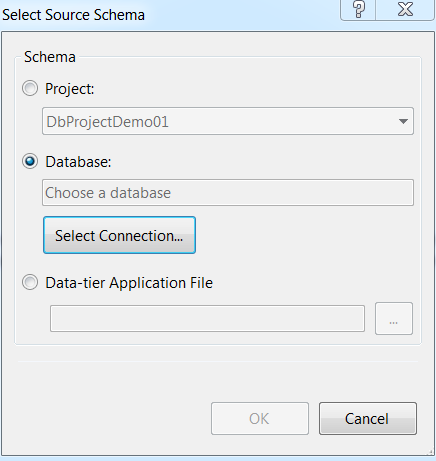 Select database connection from pop-up wizard
