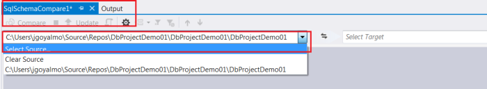 Select source from schema compare window
