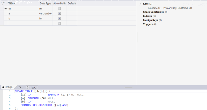 Sql table design view and syntax