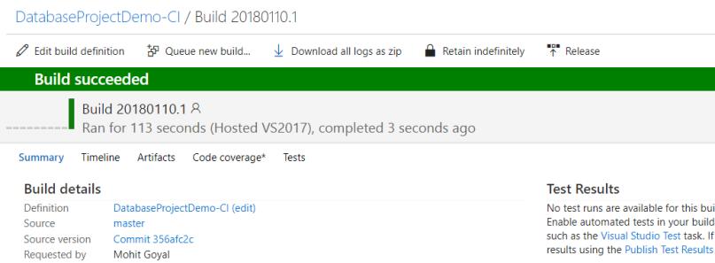 Successful run of build definition