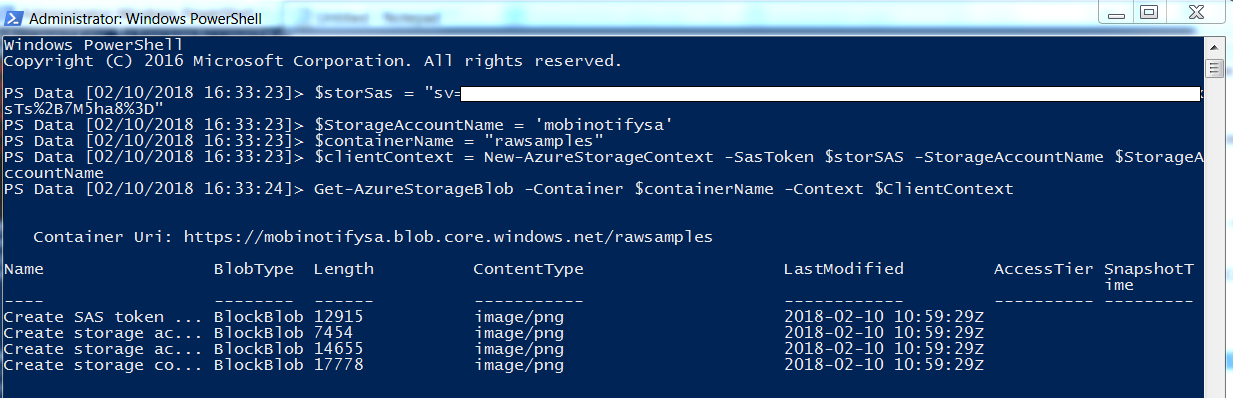 Create Azure Storage Shared Access Signature and manage