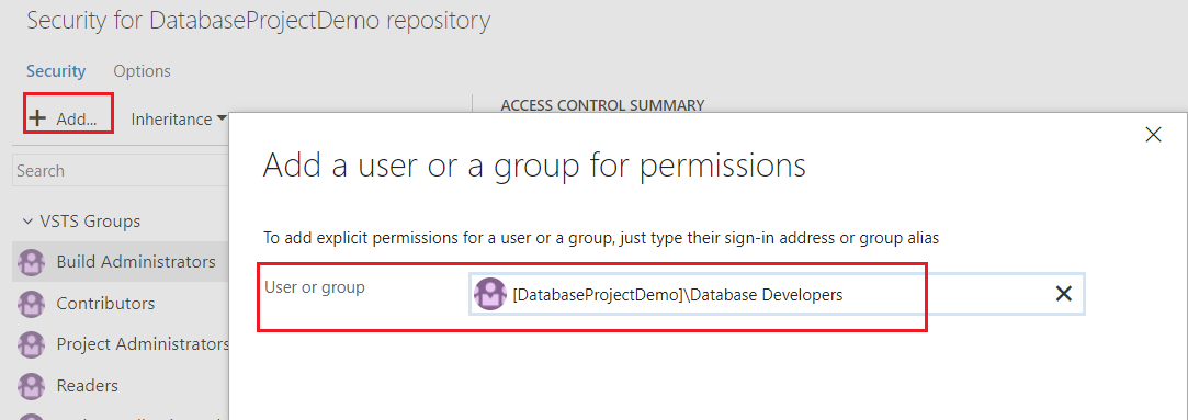 Add users or groups to the repository or branch