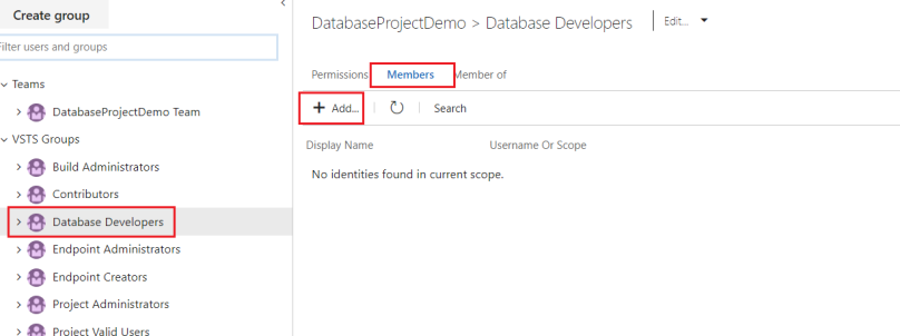 Add users to the VSTS group