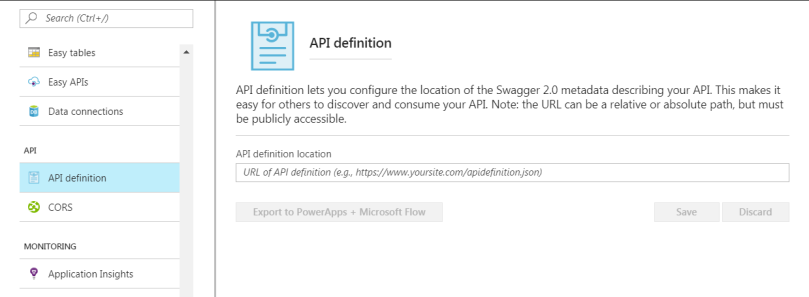 api definition from azure portal