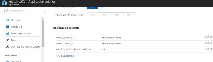 Check application settings using Azure Portal-2