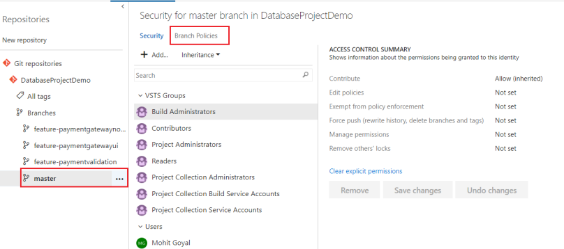 Configure branch policies for master branch