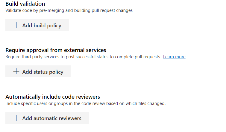 Configure branch policy options for master branch - 2