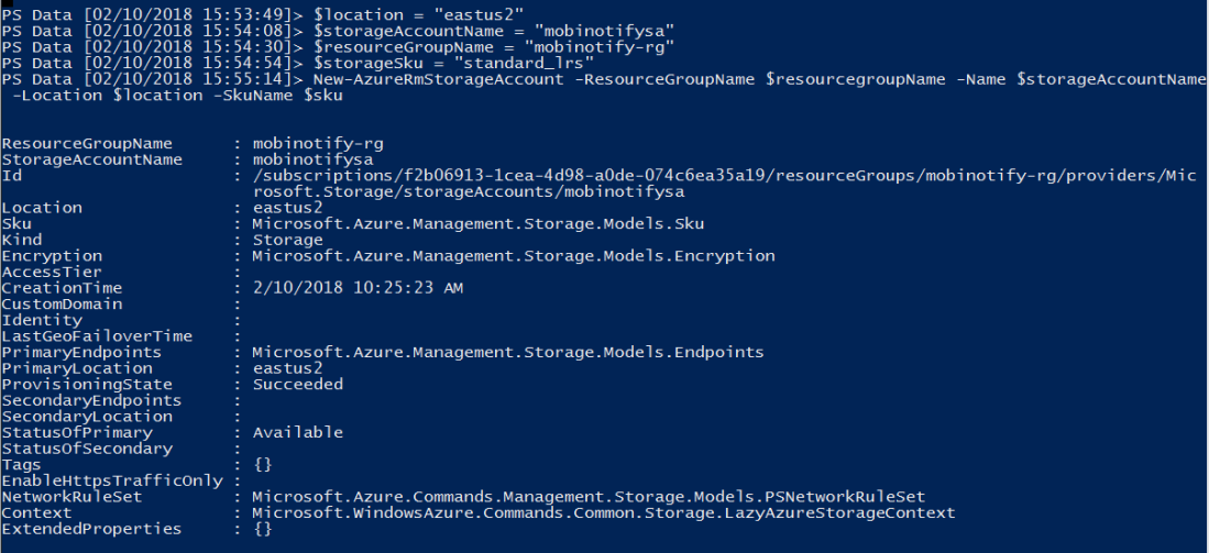 Create azure storage account using PowerShell
