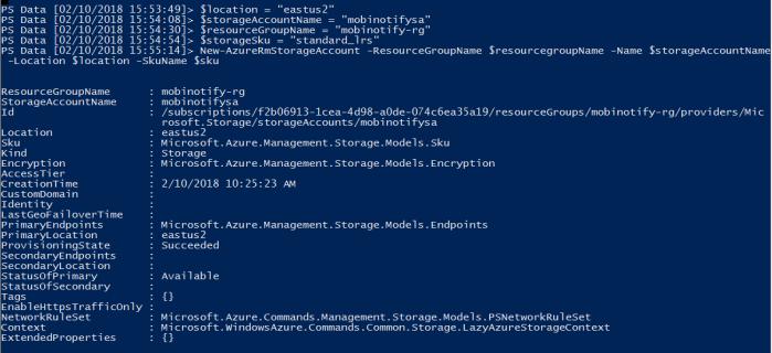 Create azure storage account using PowerShell
