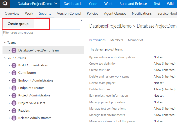 Create groups inside VSTS project