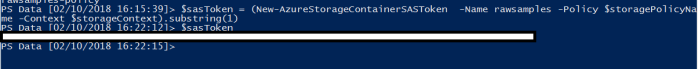 Create SAS token with Storage Access Policies using PowerShell