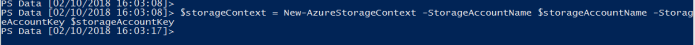 Create storage account context by using PowerShell