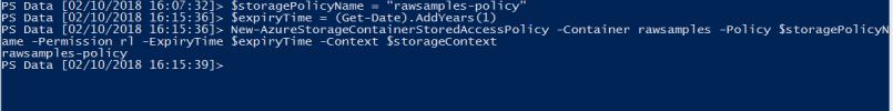 Create storage account policy using PowerShell