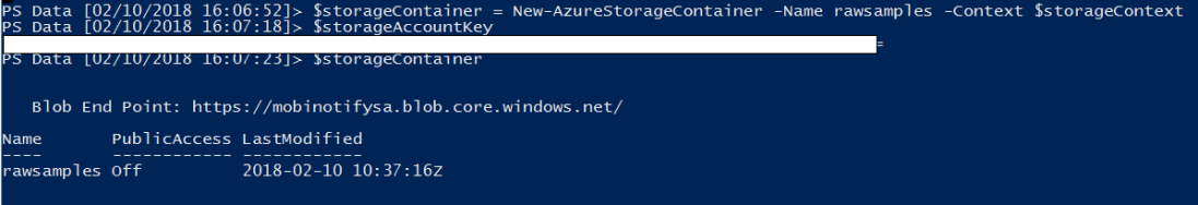 Create storage container using PowerShell