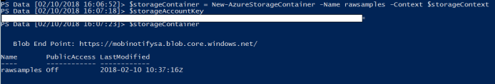 Create storage container using PowerShell
