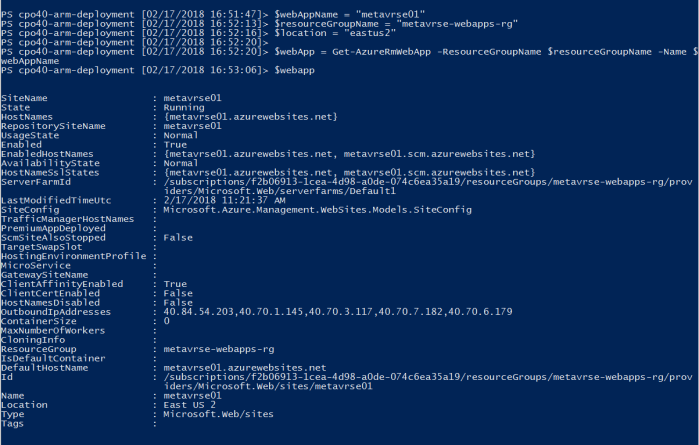 Fetch existing web app and assign to a variable inside PowerShell