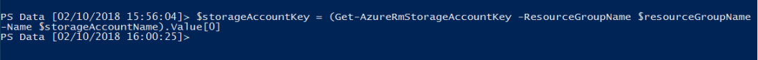 Get Azure Storage Account Key using PowerShell