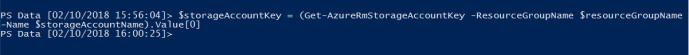 Get Azure Storage Account Key using PowerShell