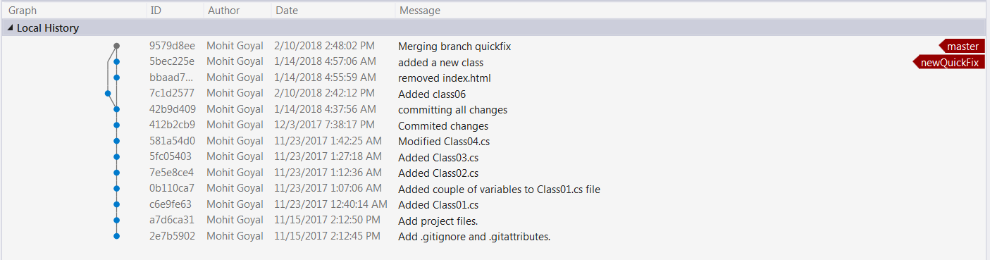 Working with Git and Visual Studio – Merging Changes using