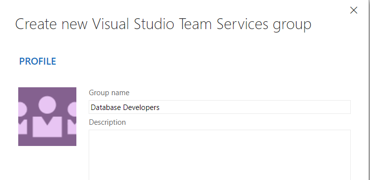 Provide name for the VSTS group