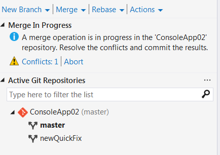 resolving merge conflicts