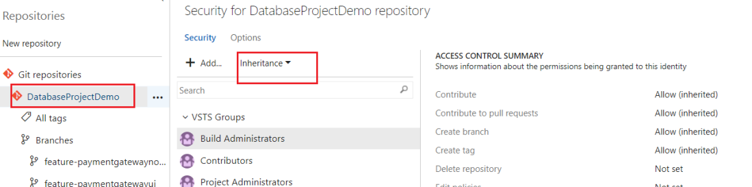 Select Repository and turn off inheritance