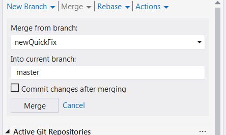 Uncheck 'commit changes after merging' checkbox