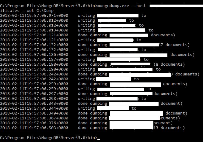 Using mongodump to export data from Cosmos DB