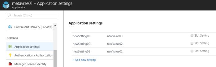 Checking application settings using Azure Portal
