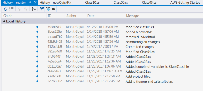 Commit history for master branch before rebase