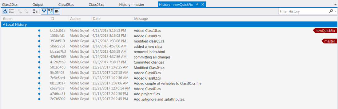 Commit history for newquick branch after rebase