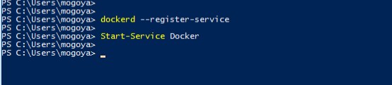 Register and start the docker service