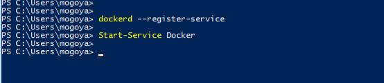 Register and start the docker service