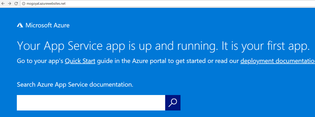 First azure web app
