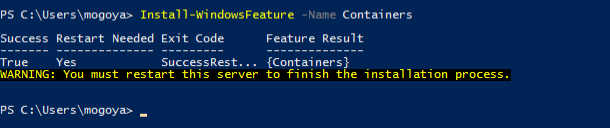 Install windows container feature