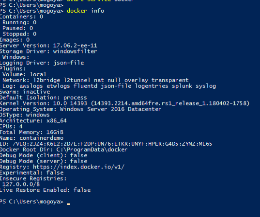 Run docker info and check the output