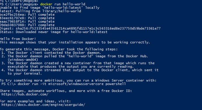 Running docker container from image hello-world