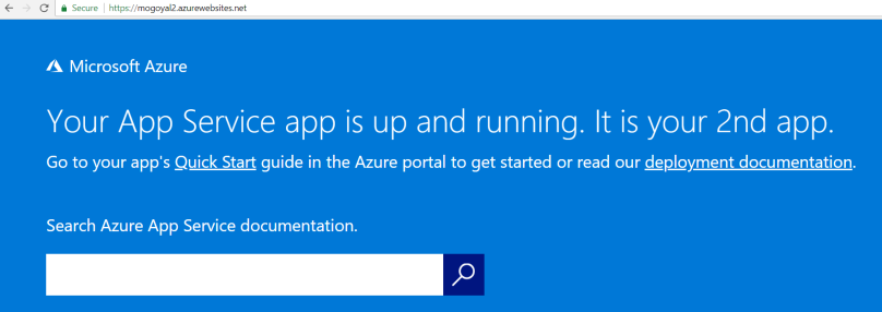 Second azure web app