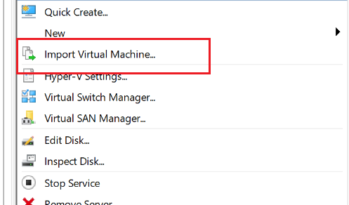 Select import virtual machine option in hyper-v console
