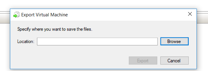 Specify the location to save virtual machine