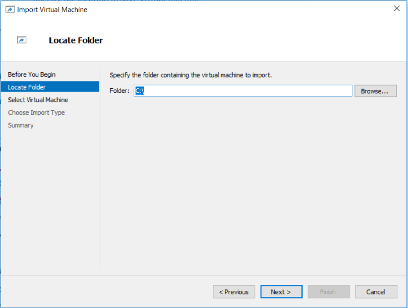 Specify the location where virtual machine was exported