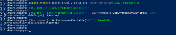 Unpack archive and add docker binaries to environment variables