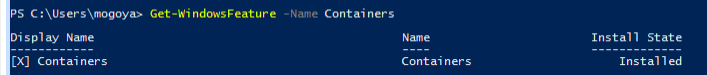 Verify if windows container feature is installed