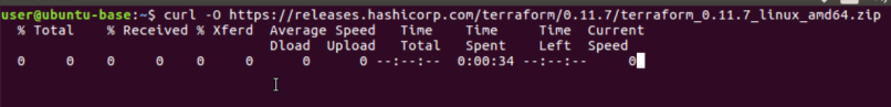 Run the curl command to download terraform file