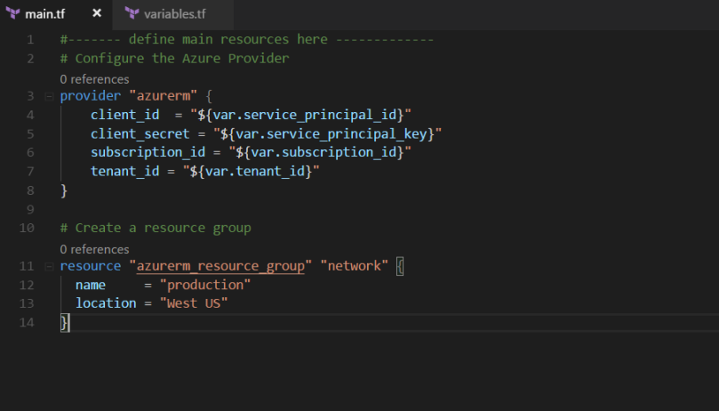 Sample main.tf file for defining azure resource configuration