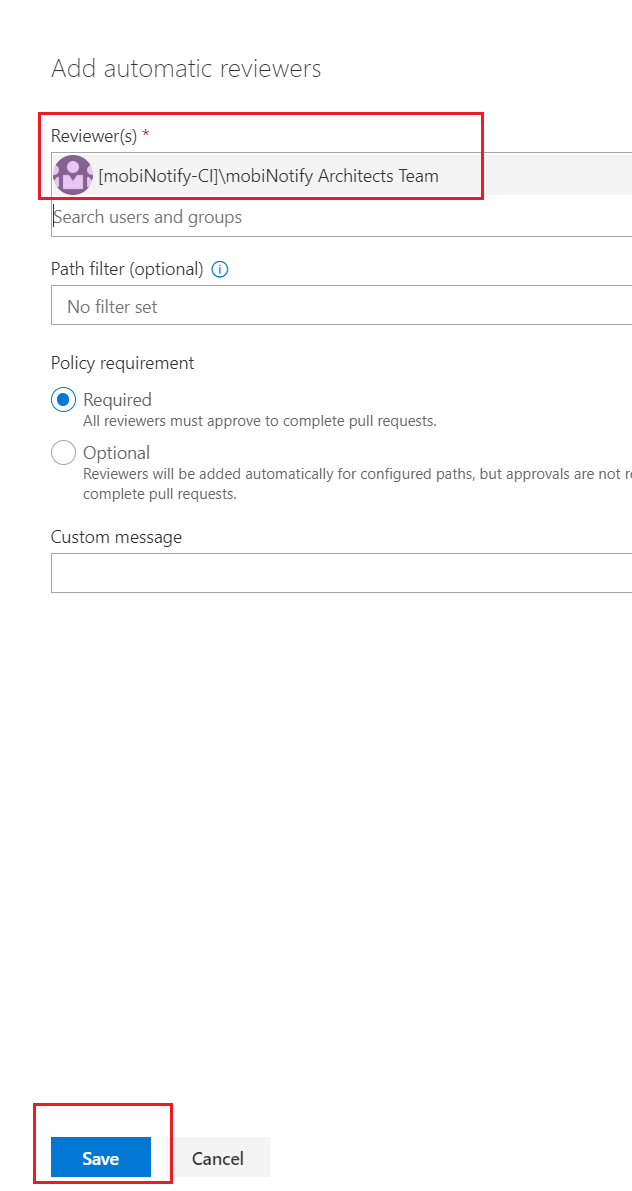 Search for VSTS group, add and save configuration