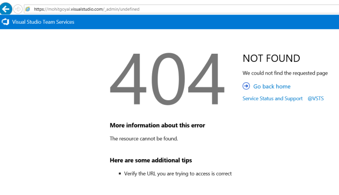404 error page after deleting VSTS account