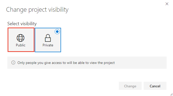 Change project visibility from private to public