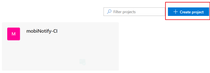 Create a new project by using create project button